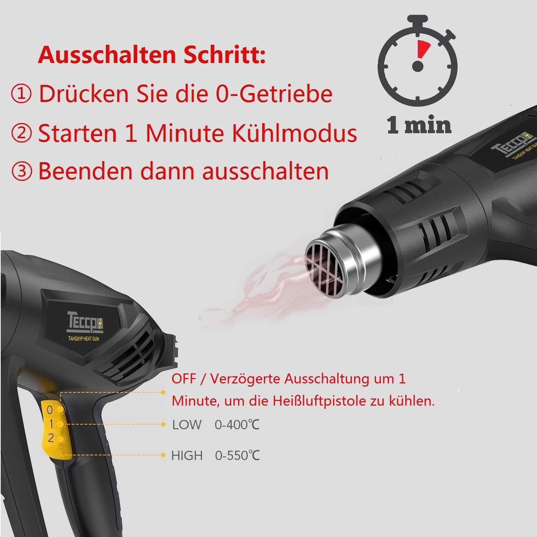 Häufig Heißluftpistole, 1-Min Kühlfunktion, TECCPO 2000W Heissluftgebläse QB27