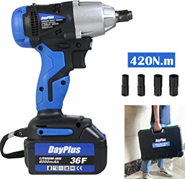 Rechargeable 6.0Ah Battery Electric Wrench Cordless 1//2 inch Drive with 14//17//19//22mm Socket Set 420Nm High Torque Powerful Lug Nut Removal Roadside Emergency