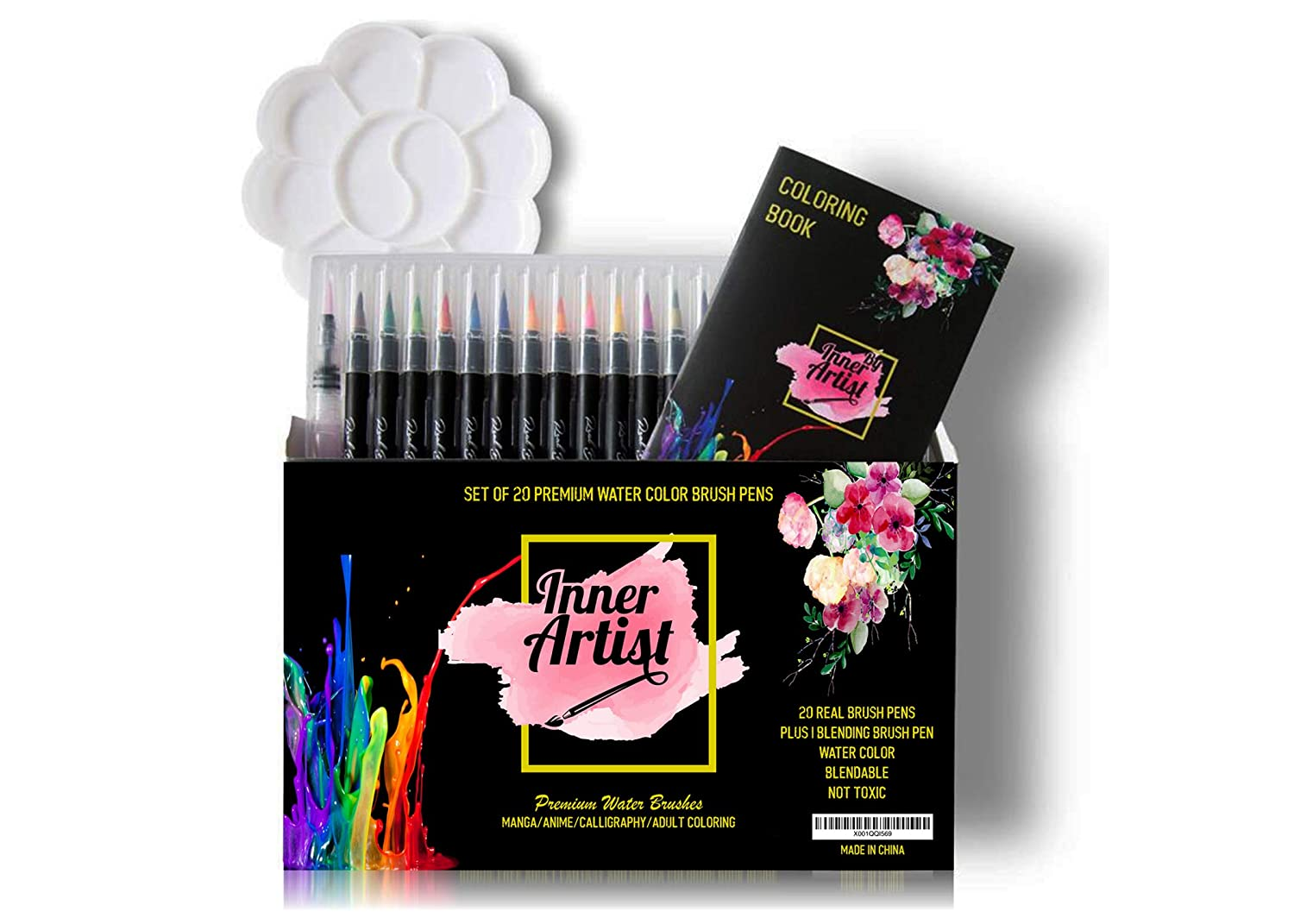 Real Brush pens: Watercolor 20+1 Flexible Water Pen Paint Set Nylon Tip Markers. Free Coloring Book Included Plus Palette.for Manga Anime Comic Cartooning Calligraphy & Color Art Books Supplies Genie Depot