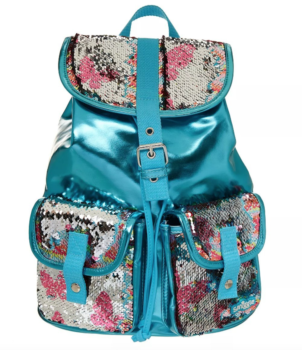 Smiggle Backpack Sparkle Go-Girl - Blue with reversible Rainbow Sequin detail 441653 14