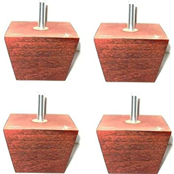 Four Short Wooden Furniture Legs 65mm High In Mahogany With