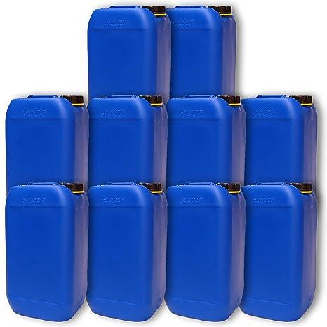 Lote de 10 bidones de polietileno /Jerrycan 15 L Azul HDPE DIN61 calidad alimentaria (