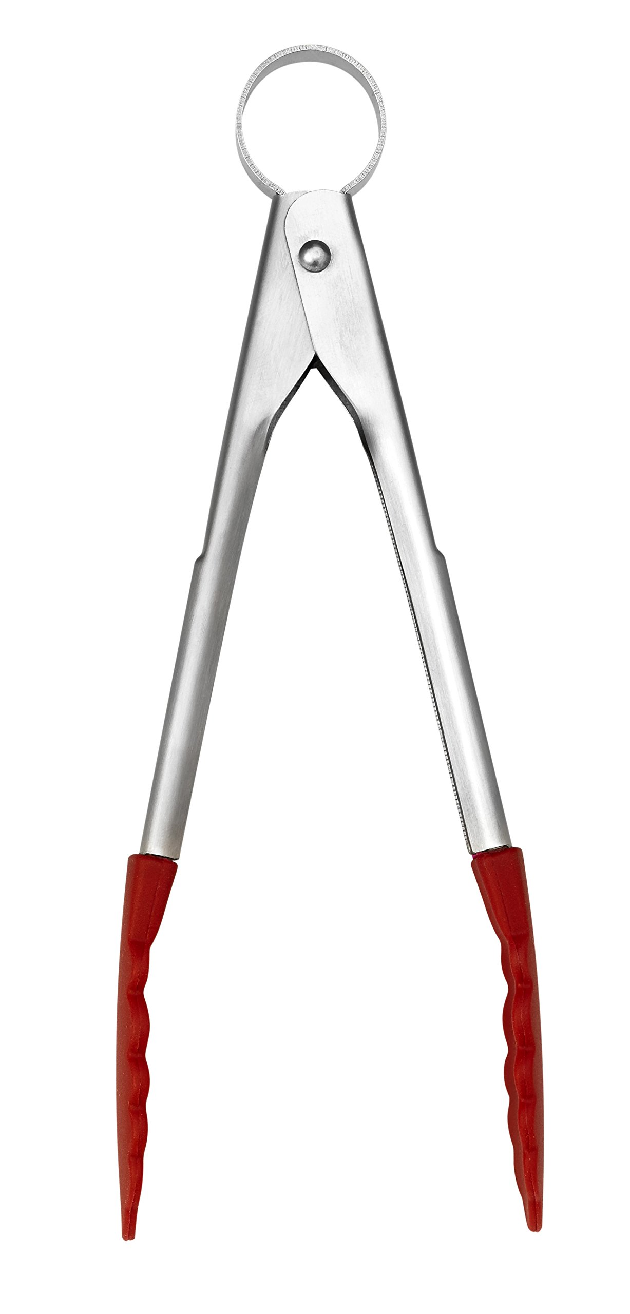 Cuisipro Stainless Steel Silicone Mini Tongs, 7'', Red