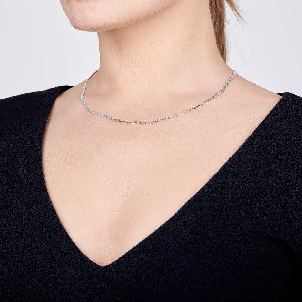 Maille Plate Miroir Longueur 40 45 50 55 60 cm Collier Cha/îne Argent 925//1000 Amberta/® Bijoux Largeur 2.4 mm