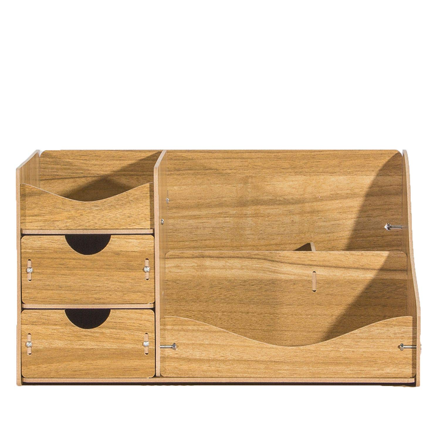 Collocation-Online Eco-friendly Cosmetics Removable Desktop Jewelry Toys Wood Make Up Organizer,one size,walnut AD51