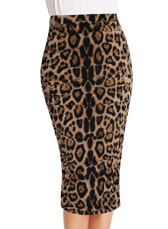 VfEmage Womens Elegant Ruched Frill Ruffle High Waist Pencil Mid-Calf Skirt 2620 Leo 12