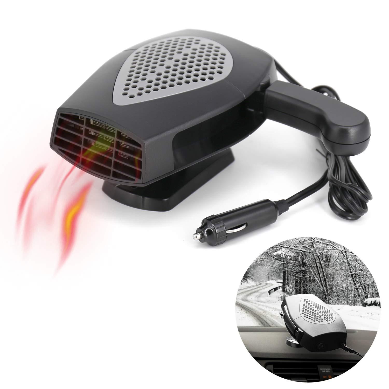 12V Portable Car Heater or Fan - Cooling Car Space & Fast Heating Defrost Defogger Space Automobile Windscreen Fan, Heat Cooling Fan Ceramic 3-Outlet Plug in Cigarette Lighter (Black)