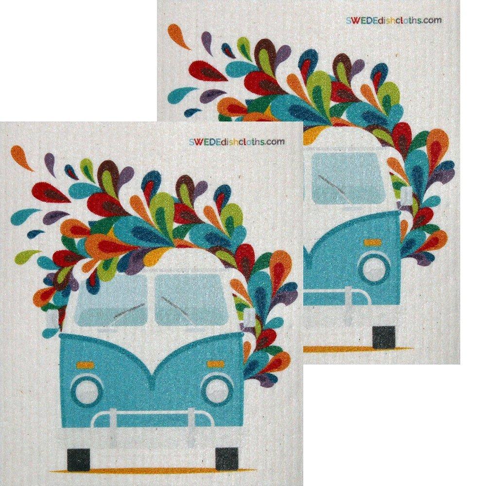SWEDEdishcloths Hippie Bus Set of 2 each Swedish Dishcloths | ECO Friendly Absorbent Cleaning Cloth | Reusable Cleaning Wipes | Swedish Dish Cloths by