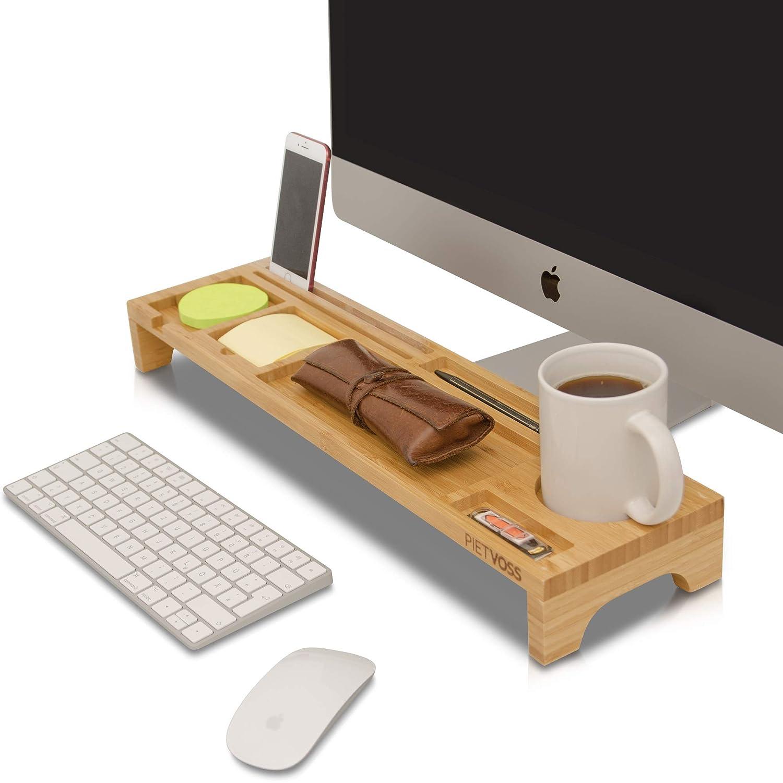 PietVoss, portaoggetti da scrivania, per un'organizzazione ottimale e un'efficienza sul posto di lavoro; più spazio per penne, cellulari, tastiera e mouse, sistema d'ordine in legno di bambù
