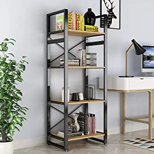 Bookshelf 4 Tiers Open Vintage Rustic Etagere Bookcase Storage Organizer, Modern Industrial Style Book Shelf Furniture for Living Room Home or Office, Wood Look & Metal Frame (4-Tier, Walnut Color)