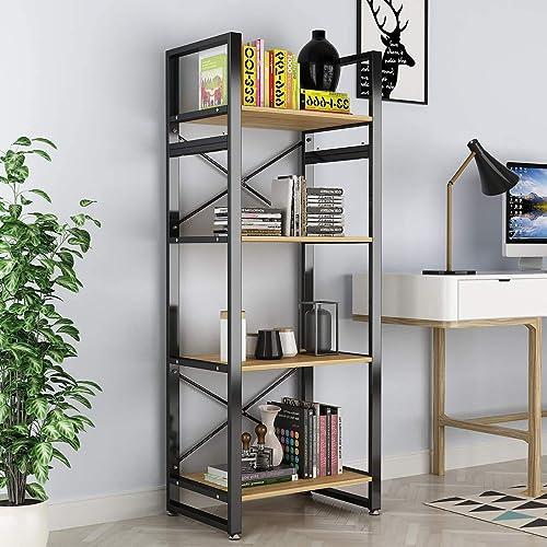 Bookshelf 4 Tiers Open Vintage Rustic Etagere Bookcase Storage Organizer