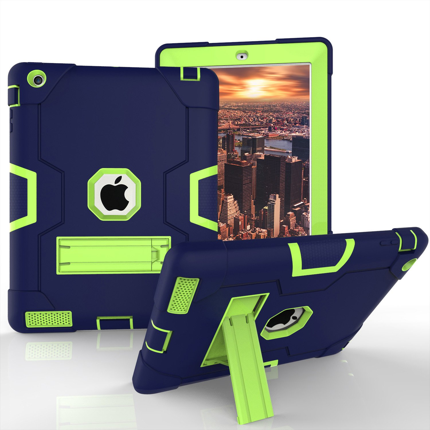iPad 2 Case, iPad 3 Case, iPad 4 Case, Daker Kickstand Heavy Duty Rugged Shockproof High Impact Resistant Rubber Hybrid Three Layer Armor Full Body Protective Case for Apple iPad 2/3/4th Gen