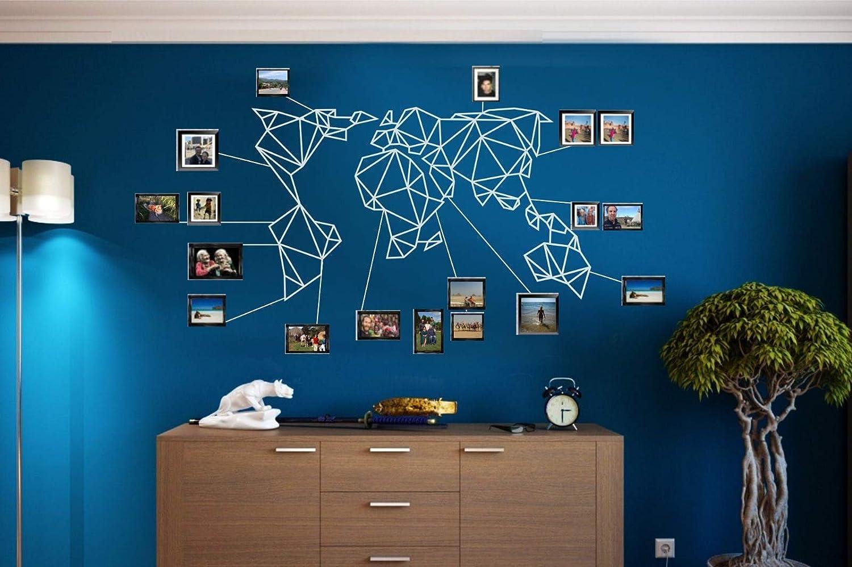 dormitorio oficina sala de estar metal decoraci/ón para el hogar DEKADRON Mapa de metal para pared dise/ño geom/étrico de mapamundi con silueta de pared en 3D escultura de color blanco