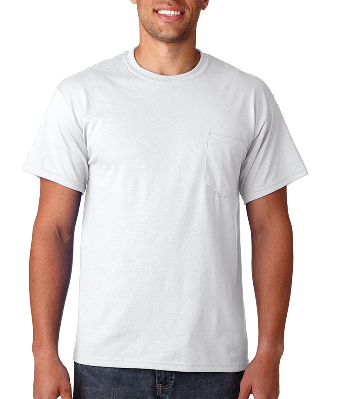 d8d16a693e7a Gildan Mens DryBlend 5.6 oz 50/50 Pocket T-Shirt G830 -WHITE XL at Amazon Men's  Clothing store: