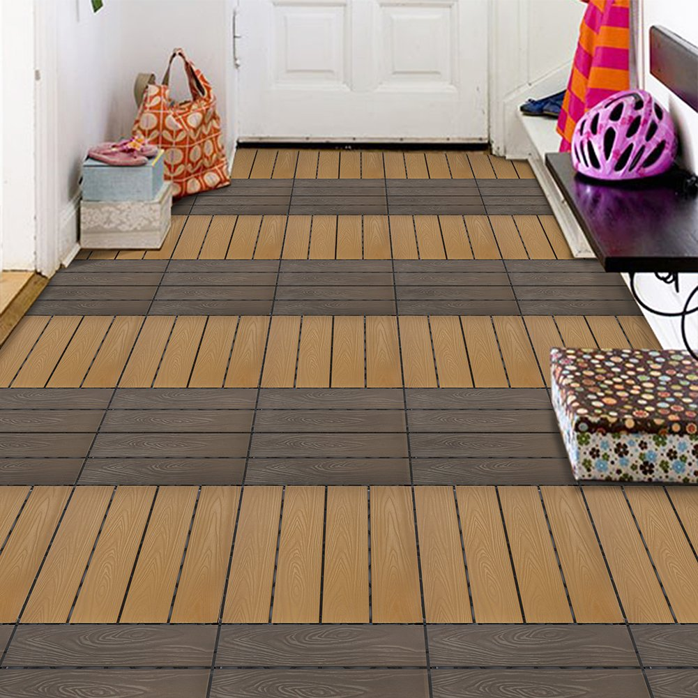 Set Of 12 Interlocking Patio Flooring Tiles In Coffee, Indoor Outdoor Deck  And Patio Flooring Wood Plastic Material Composite Tile, 12 X 12 Inch    PFCOFFEE ...