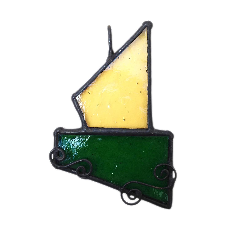 Lekoky BOAT NO. 1 Original Art Work, Glass Sun Catcher, Gift, Window Decoration, Glassware, Handcrafted in South of England Lenka's Terrariums