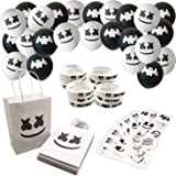 60 Pack Marshmallow DJ Birthday Party Supplies - 12 Favor Bags, 24 Balloons, 12 Tattoo Stickers, 12 Bracelets
