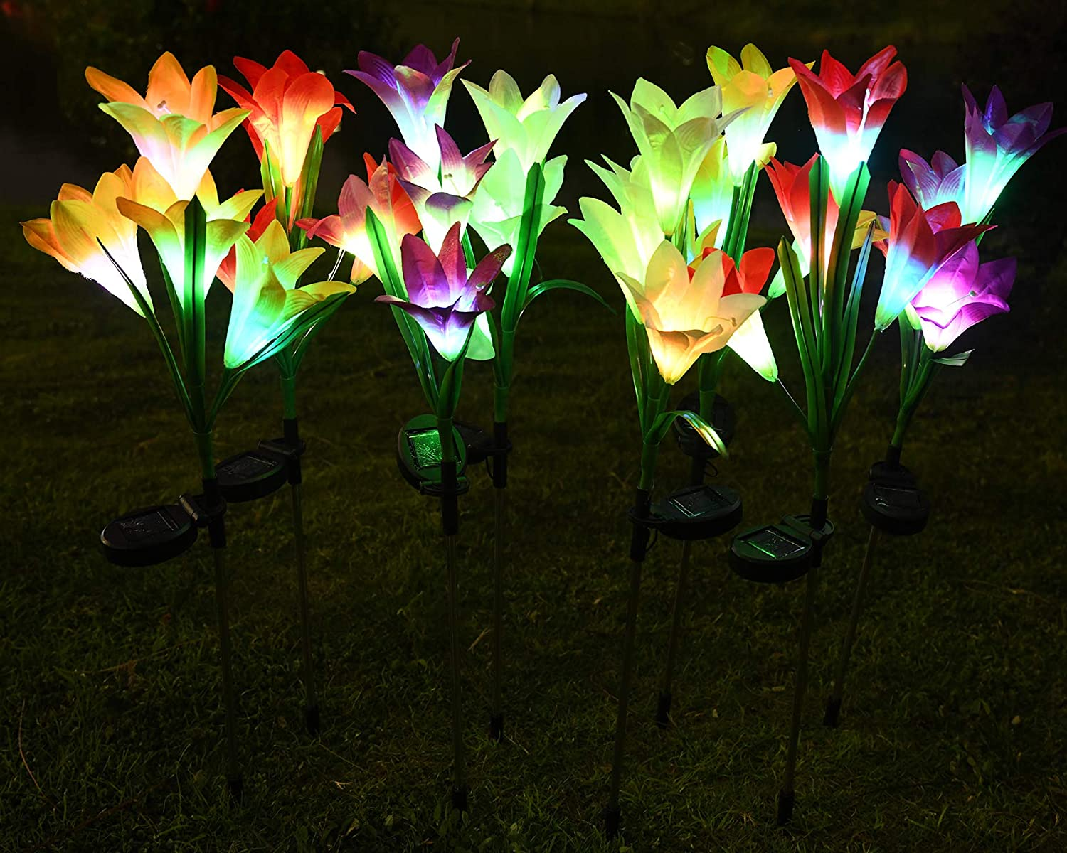 BOOTOP Solar Flowers - Lily Solar Garden Stake Lights,8 Pack Powered Lights with 32 Lily Flowers,Waterproof 7 Color Changing LED Solar Landscape Lights for Garden,Outdoor,Lawn,Yard,Pathway Decoration