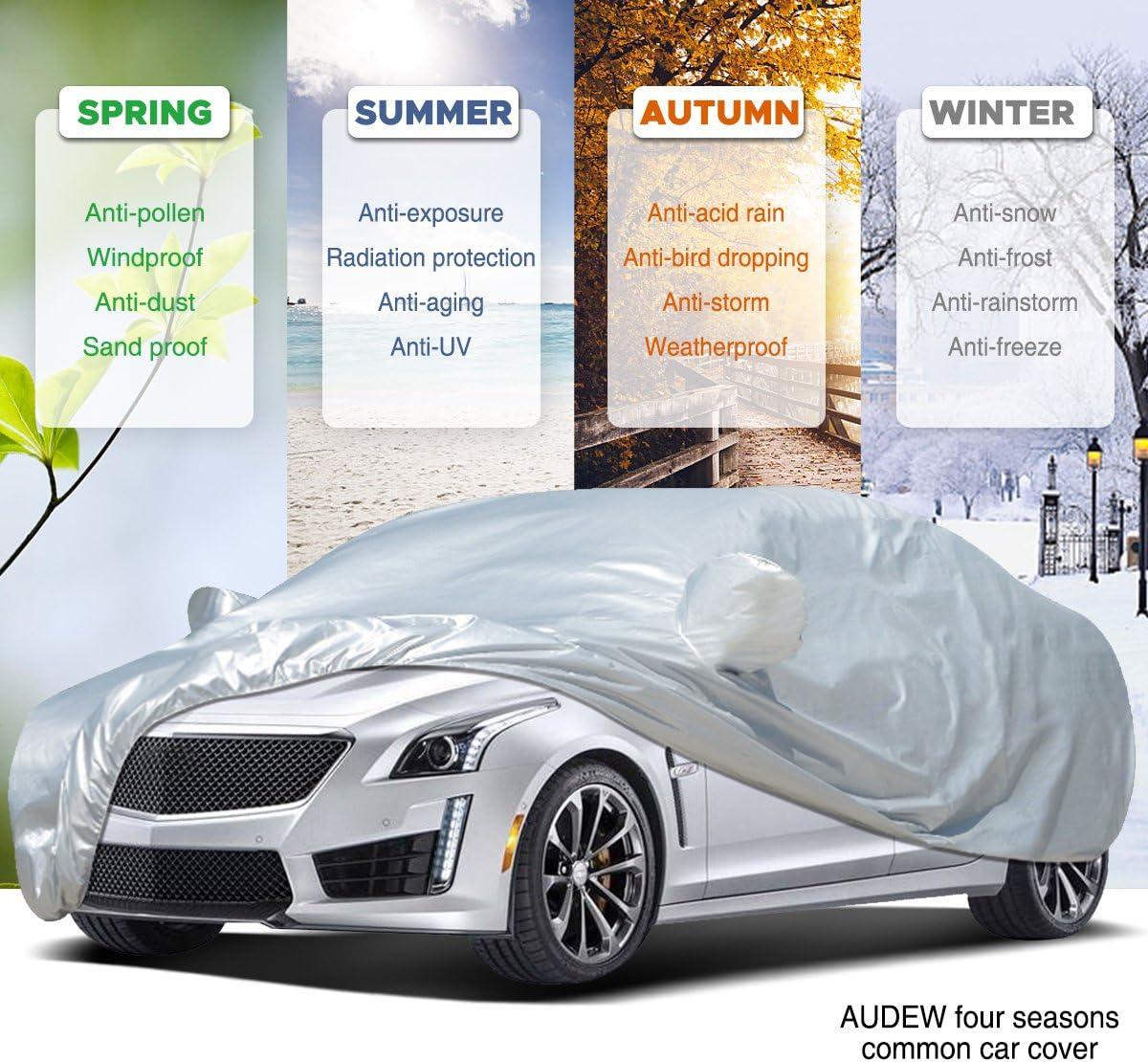 Audew Car Cover Sedan Cover 2019 Upgrade UV Protection//Waterproof//Windproof//Dustproof//Scratch Resistant Outdoor Full Car Covers for Sedan L 177-191