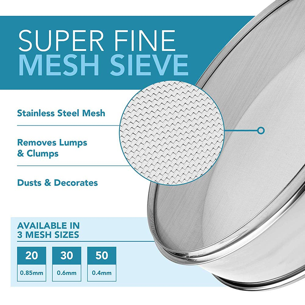 10-200 Mesh Screen Full Stainless Steel Sieve Mesh Vibrating Screen Accessories Use for Home,Kitchen,Baking,Flour,Corn, Sugar, Beans Multipurpose Mesh Screen (Diameter: 3.9inch) by FSYD (Image #2)