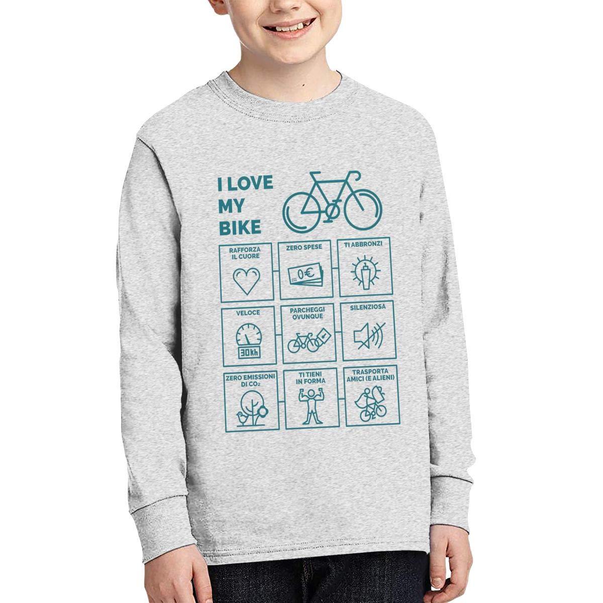 I Love My Bike Boys Long Sleeve T-Shirt,Fashion Youth Tops