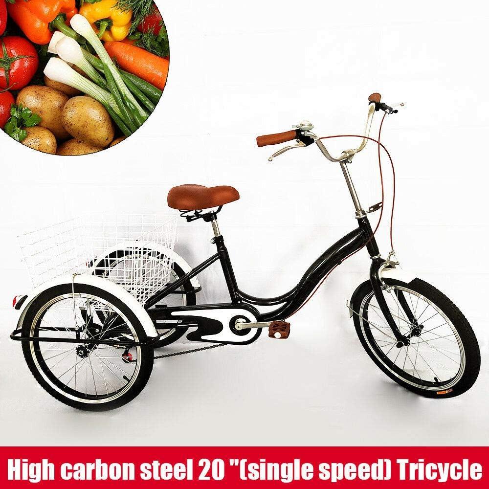 SENDERPICK Bicicleta de 20 pulgadas con 3 ruedas para adultos, bicicleta de una sola velocidad, pedal, bicicleta de ciclismo para adultos, con cesta blanca para deportes al aire libre, compras: Amazon.es: Deportes