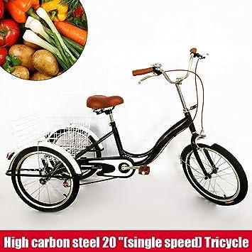 SENDERPICK Bicicleta de 20 Pulgadas con 3 Ruedas para Adultos, Bicicleta de una Sola Velocidad