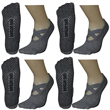 5856c682b Qing Outdoor Women s Ballet Style No Show Low Cut Hospital Slipper Socks  Great for Barre Pilates