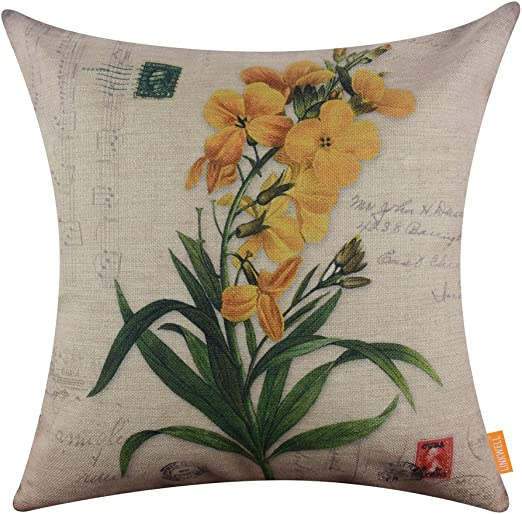 CC1272 LINKWELL 18x18 inches Vintage American Country Flower Burlap Throw Pillowcase Cushion Cover