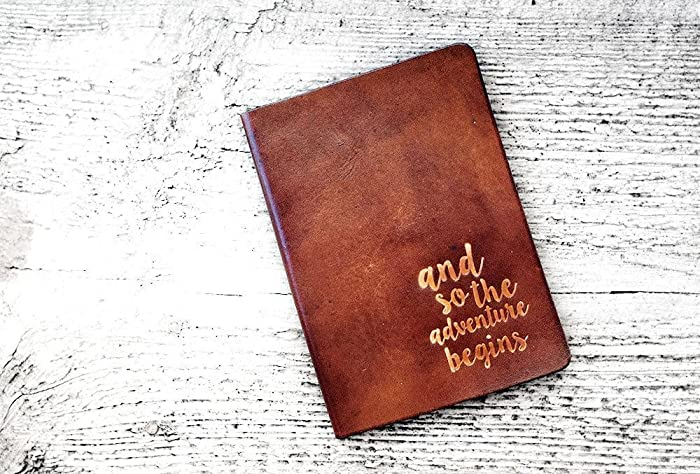 amazon com leather passport cover and so the adventure begins