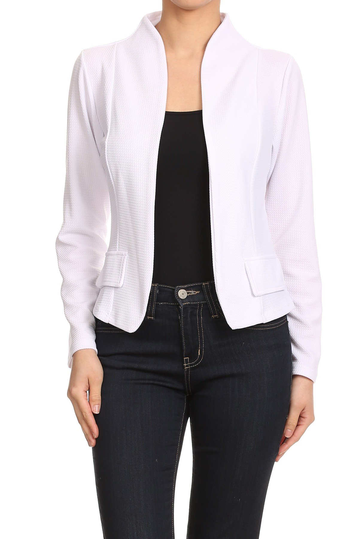MissyMissy Womens Casual Business Loose Fit Solid Blazer Jackets J907 (X-Large, White)