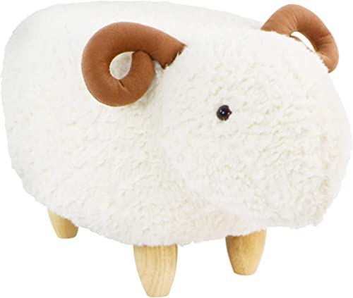 Critter Sitters White 14-in. Seat Height Plush Ram Animal Shape Ottoman