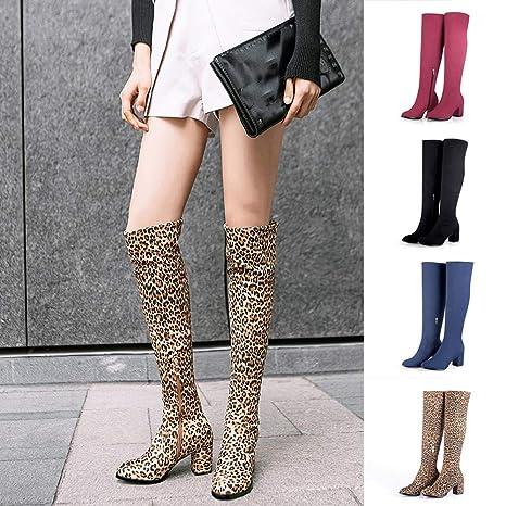 JiaMeng Botas Mujer Ante Botas de Invierno Media Pierna Zapatos de tacón Alto con Estampado de Leopardo a la Moda, Botas de Tubo largas con Punta Redonda: ...