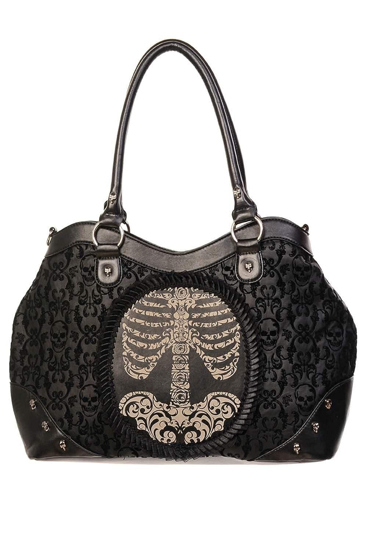Banned Gothic Victorian Flocked Cameo Skeleton Ribcage Ladies Handbag