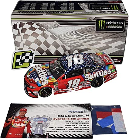 autographed 2018 kyle busch 18 skittles patriotic red white blue chicagoland speedway win raced version w confetti signed lionel 1 24 scale nascar diecast car with coa 669 of only 889 produced at amazon s sports collectibles store autographed 2018 kyle busch 18 skittles patriotic red white blue chicagoland speedway win raced version w confetti signed lionel 1 24 scale nascar