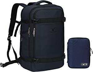 Hynes Eagle 44L Travel Backpack Airline Approved Carry on Backpack Suitcase Backpack Weekender Bag Backpack Luggage for Women Men, Blue Backpack with Blue Electronics Organizer