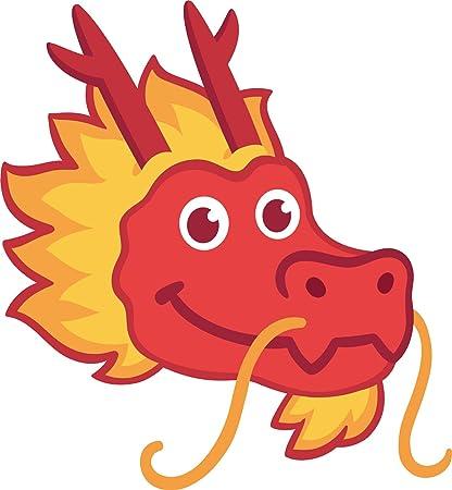 amazon com happy smiling red chinese new year dragon head cartoon