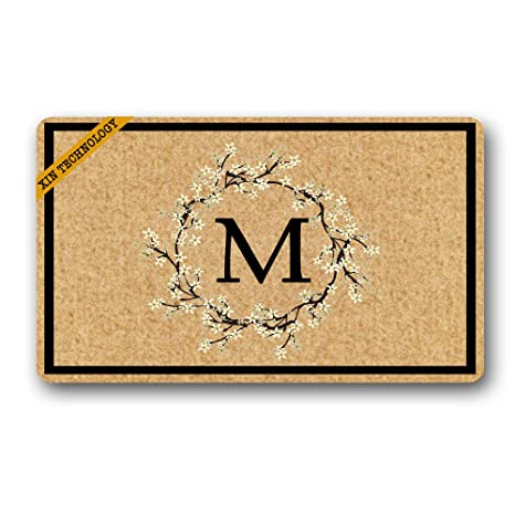 Artsbaba Personalized Monogrammed Doormat Wreath Monogram Letter Non-Slip Doormat Non-woven Fabric Floor  sc 1 st  Amazon.com & Amazon.com : Artsbaba Personalized Monogrammed Doormat Wreath ...