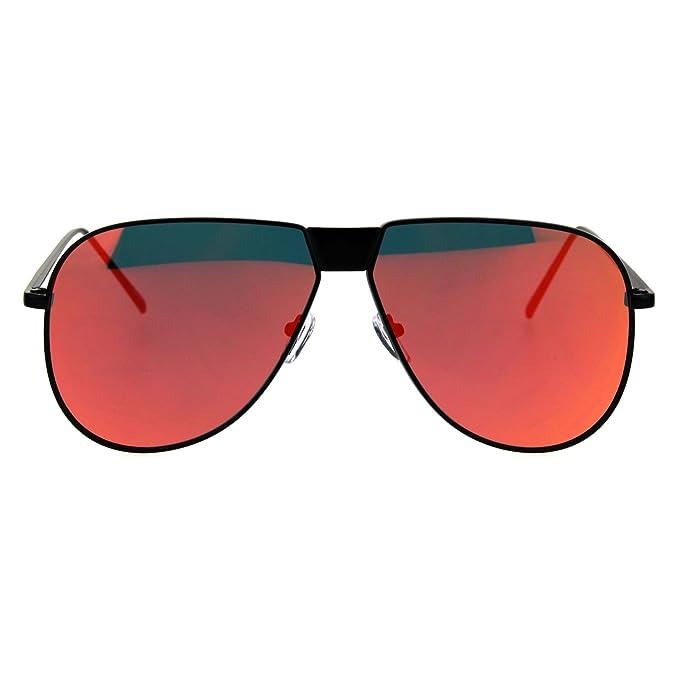 3d62390d897be Metal Frame Oversize Reflective Color Mirror Lens Futuristic Aviator  Sunglasses Black Red