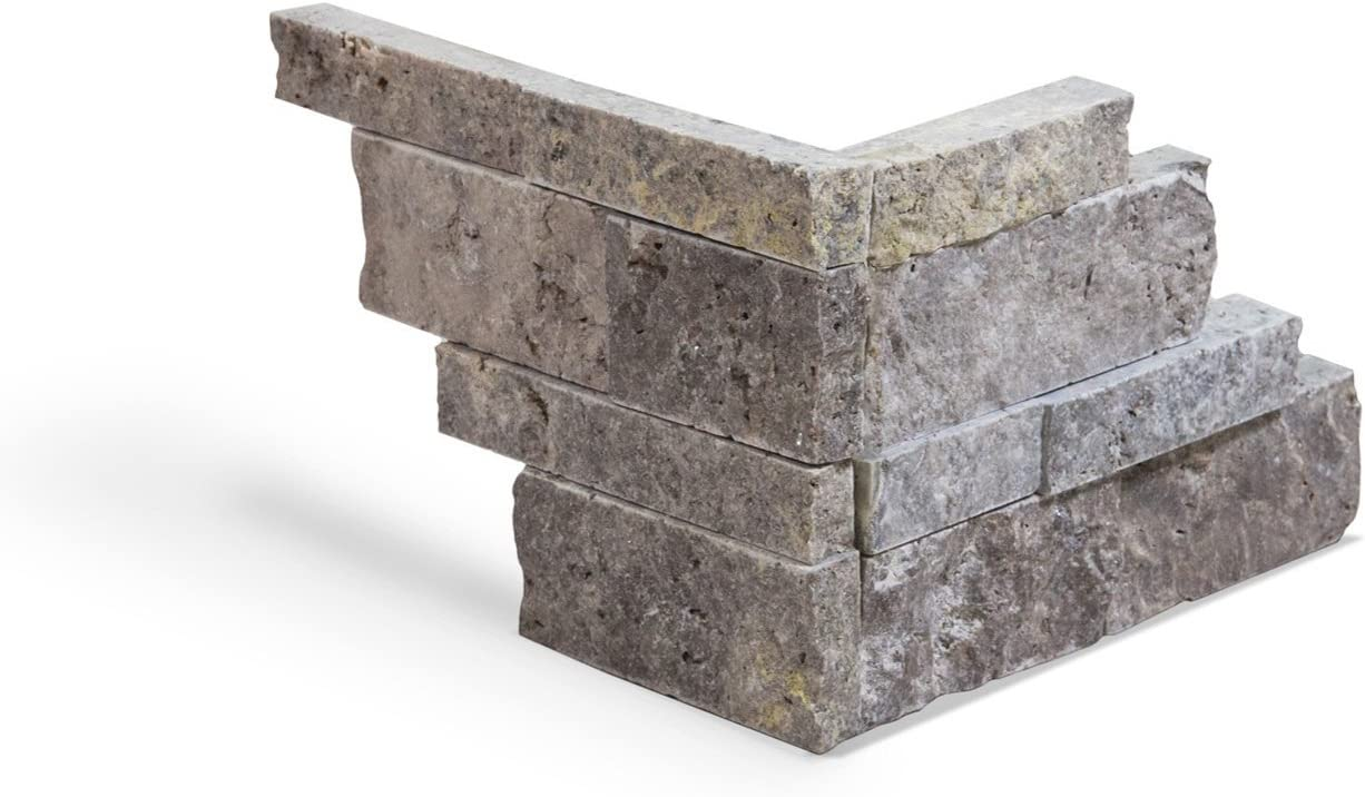 - Silver Travertine Stacked Ledger Wall Panel Tile Corner, Split