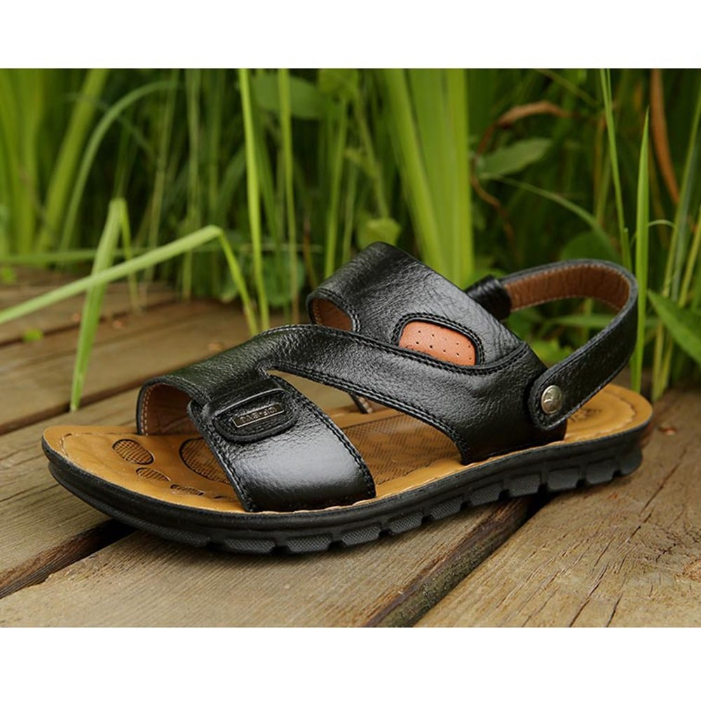 YQQ Casual Shoes Male Sandals Men's Slippers Beach Shoes Summer Bottom Leather Soft Bottom Summer Massage Insole Cozy Non-Slip B07GGM6T1K Slippers a3e5ac