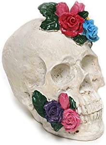 """Halloween Skull Statues Home Decor Day of Dead with Roses Flowers Skull Resin Head Figurine Sculpture 7.1"""" Dia de Los Muertos Decorations for Altar (White)"""