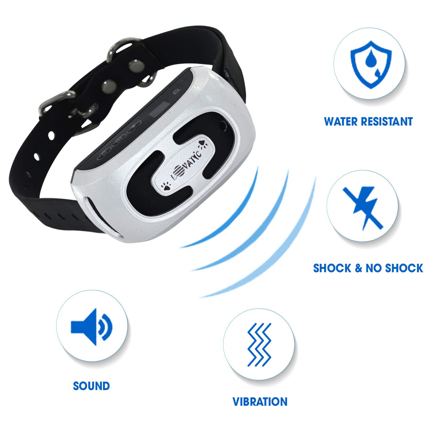 MONTAUR 2019 Automatic Bark Collar - Upgraded Rechargeable Barking Collar for Dogs - Newest Version Waterproof Bark Control Collar - Humane and Safe Dog Bark Collar for Dogs
