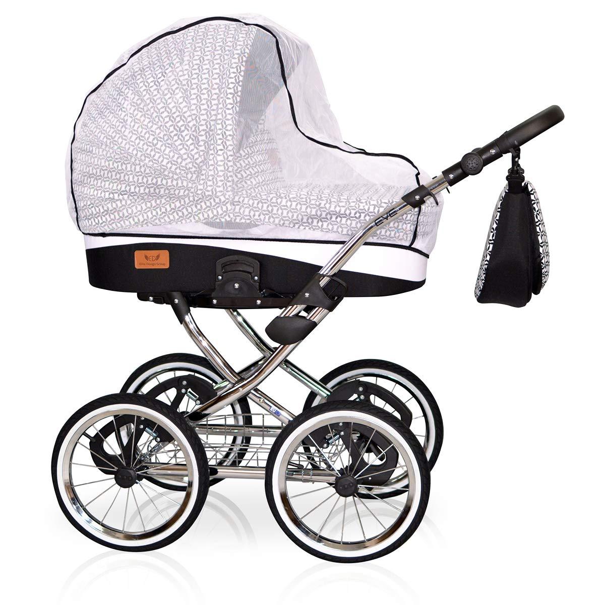 Ein Luxus Nostalgie Kinderwagen 3 in 1 Retro Komplettset inkl Sportwagen und Zubeh/ör 12 GRAPHITE Babyschale EVE Deluxe Babywanne