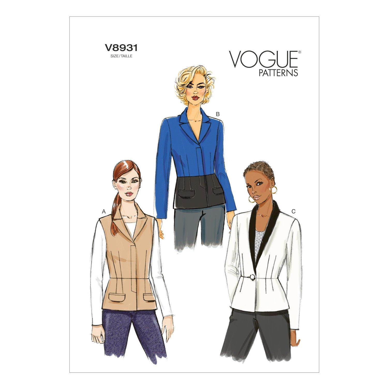 Vogue Patterns V8931 Size A5 6// 8// 10// 12// 14 Misses Jacket Pack of 1 White