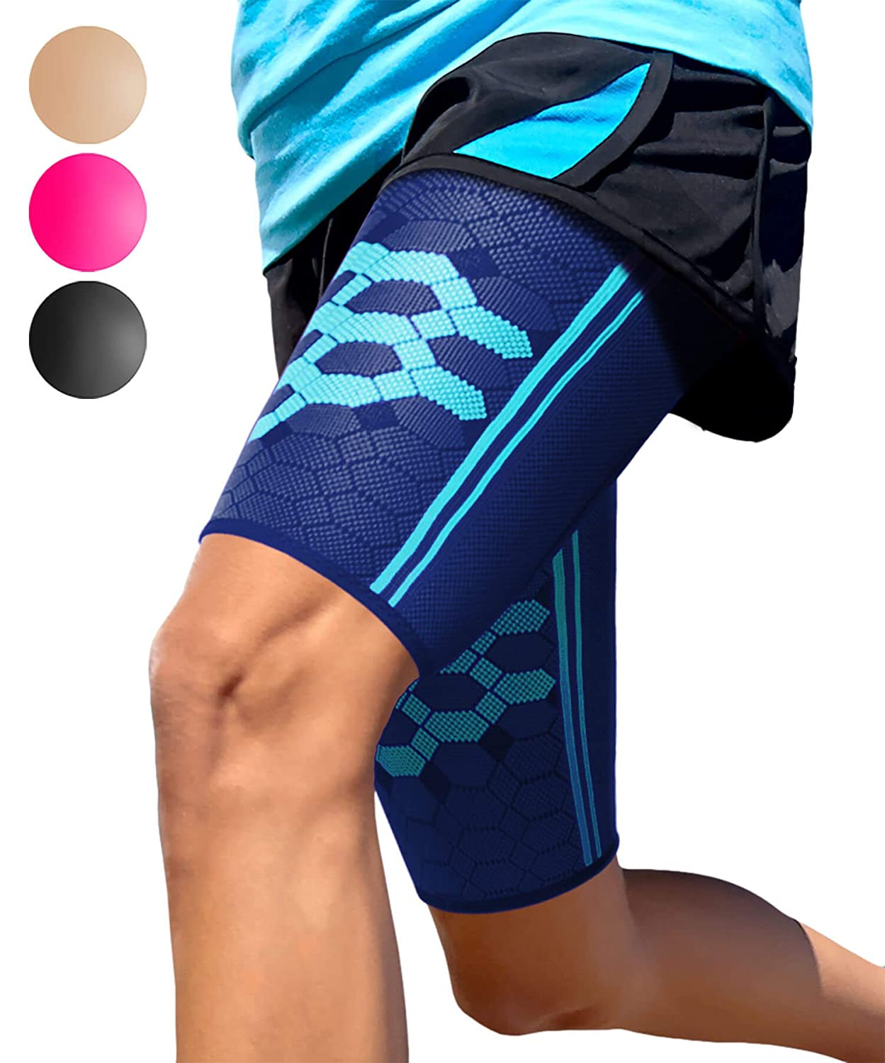 7d81161959926 Sparthos Thigh Compression Sleeves (Pair) – Quad and Hamstring Support –  Upper Leg Sleeves for Men and Women – Made from Innovative Breathable  Elastic ...