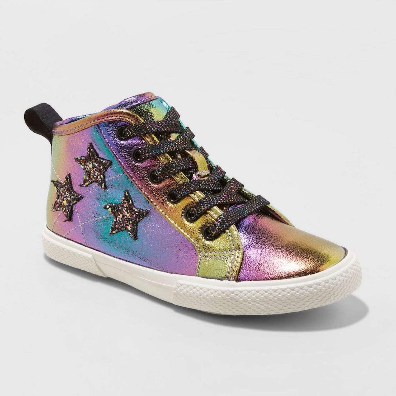 Top Glitter Sneakers Gold Oil Slick