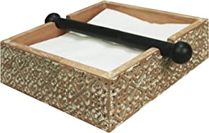 NIKKY HOME Bohemian Wood Napkin Holder Tray with Center Bar Weighted Arms