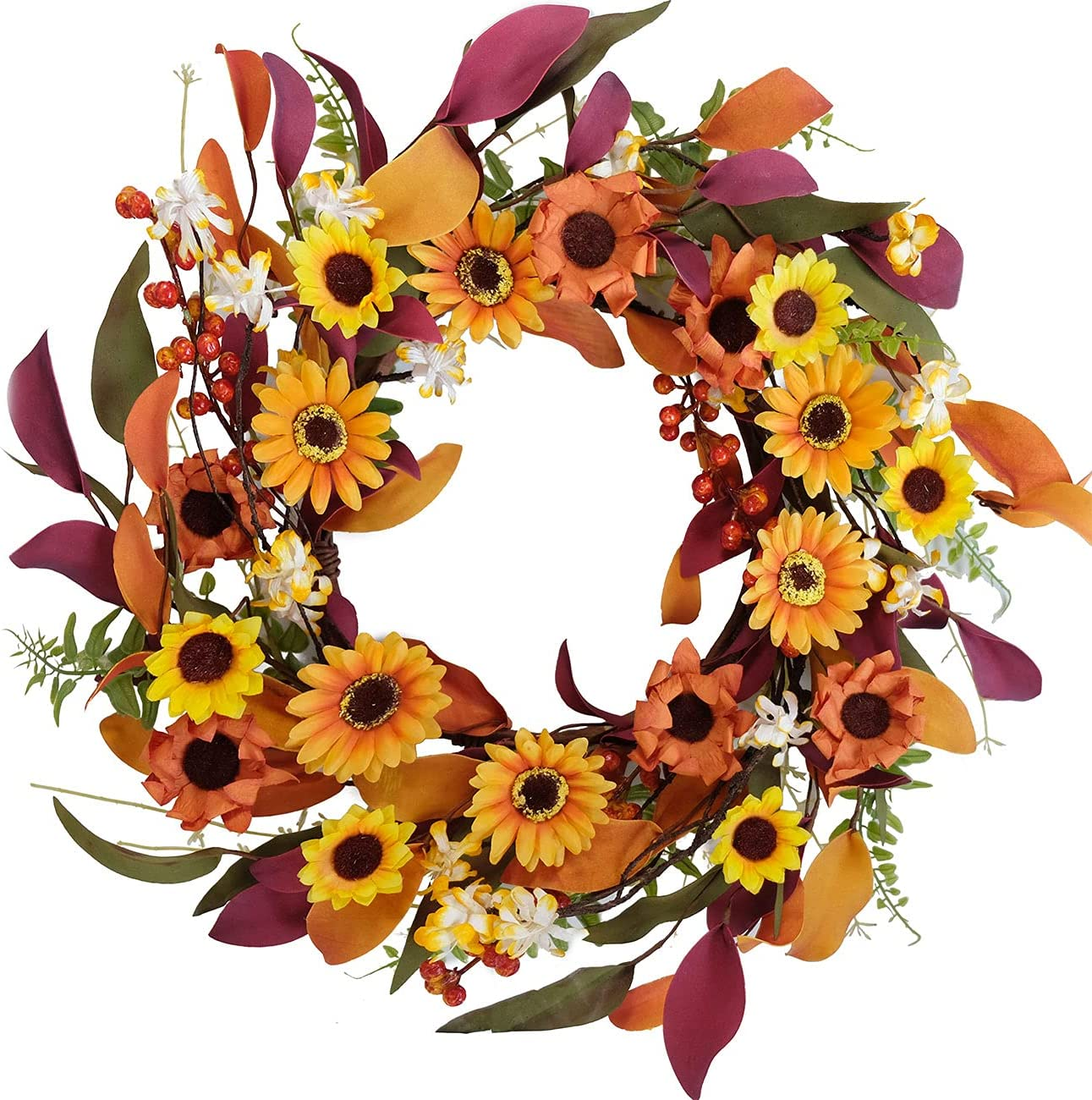 Artificial Fall Wreath Silk Sunflower Paper Flower Wreath Green and Colorful Leaves for Front Door Spring &Autumn Wreaths Farmhouse Home Office Wedding Party Wall Decor (14 in Wreath)