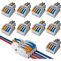 QitinDasen 9Pcs KV424 Palanca Tuerca Cable Conector, 2 en 4 fuera Bilateral 6 Puertos Compacto Conductor Conector…